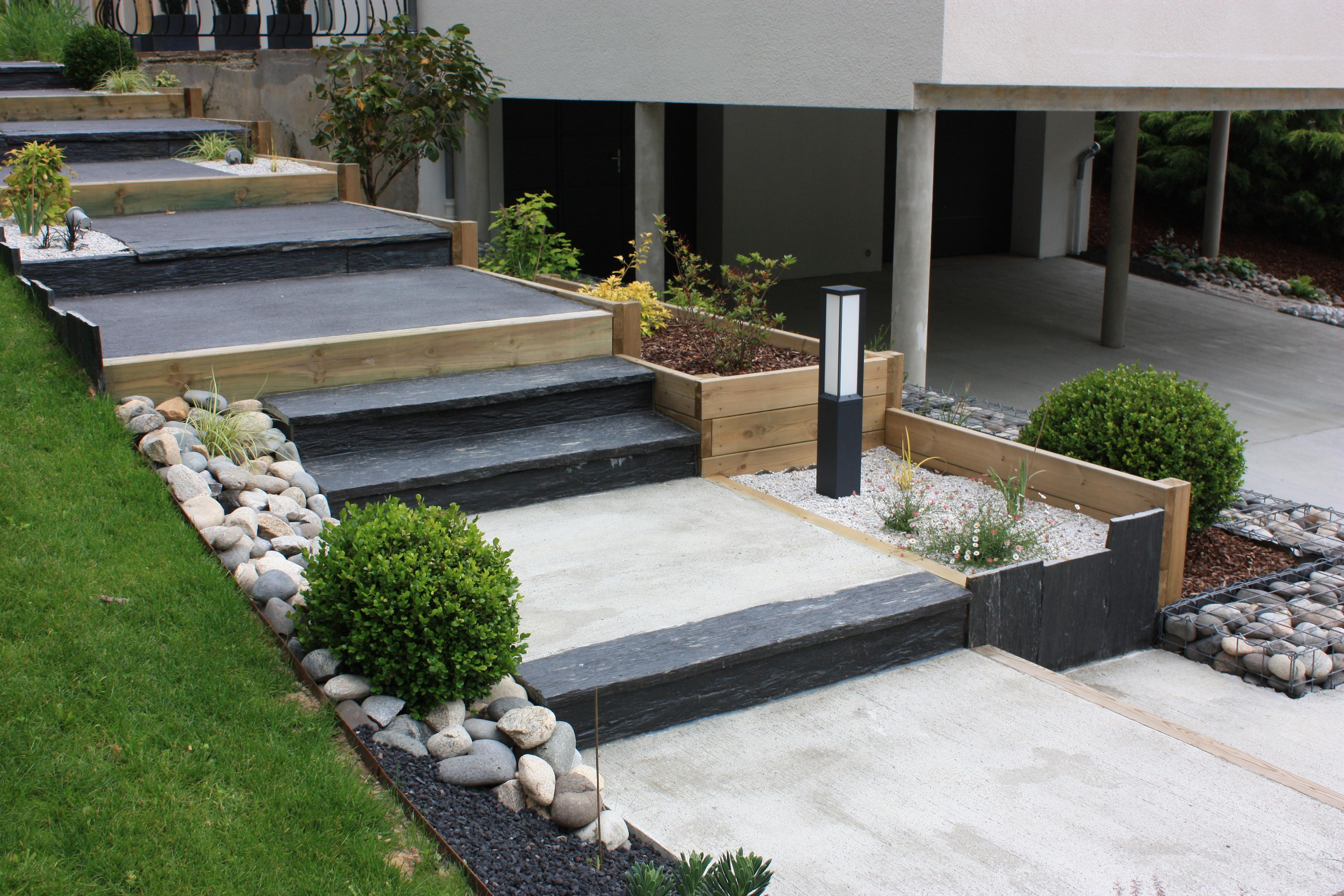 Aménagement de jardin, création d'escalier